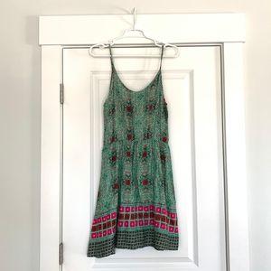 Francesca's Green Pattern Mini Dress